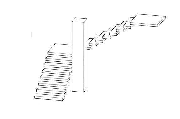 disegno progettuale scala in pietra