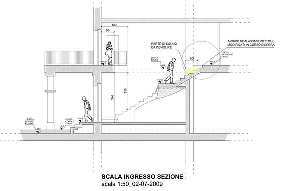 sezione scala in marmo bianco