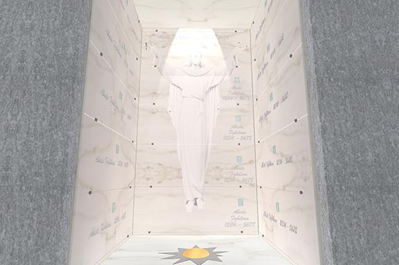 interno edicola funeraria in marmo