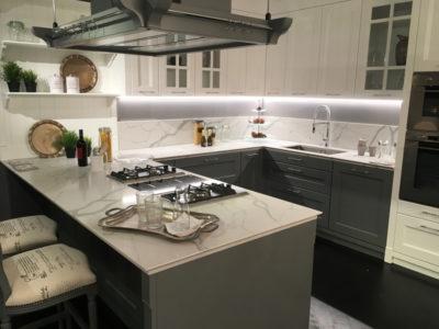 top cucine in agglomerato di quarzo bianco