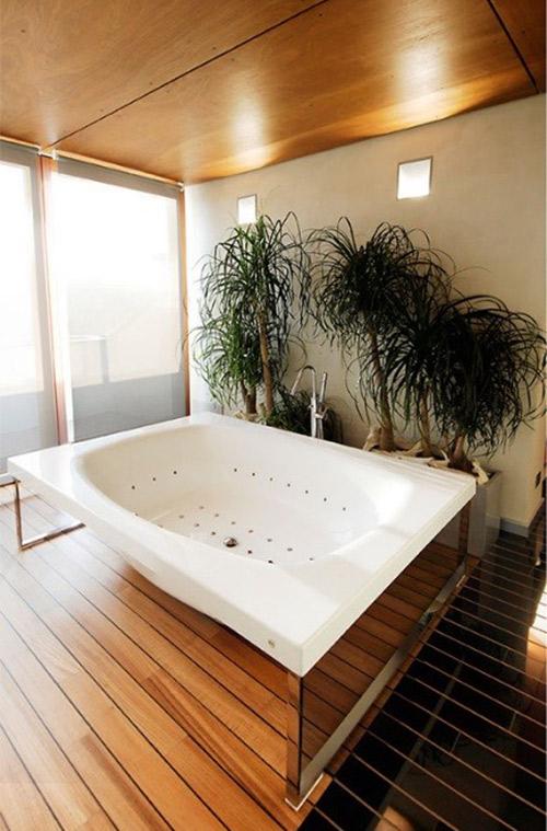 bagno in pietra e legno