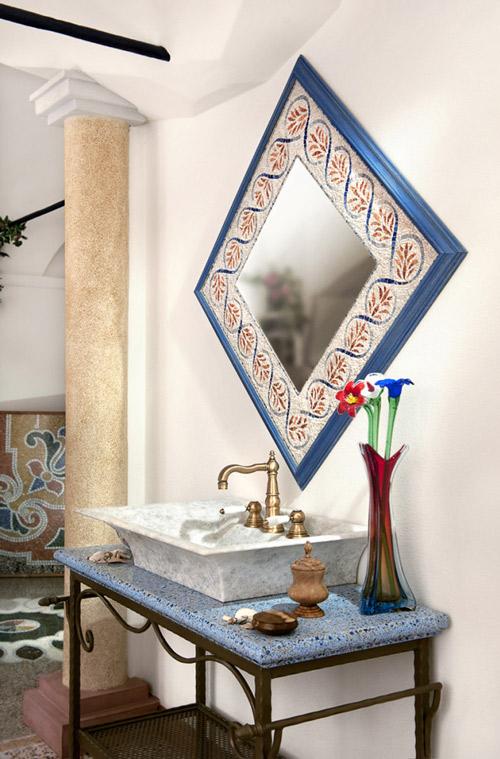 rivestimento bagni in pietra e mosaico