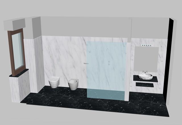 render bagno marmo bianco carrara nero marquinia