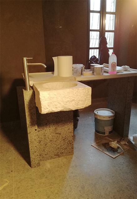 restauro acquaio in marmo